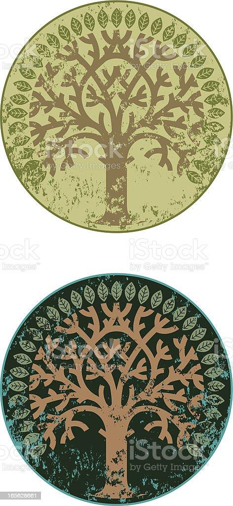 Grunge circular tree vector art illustration