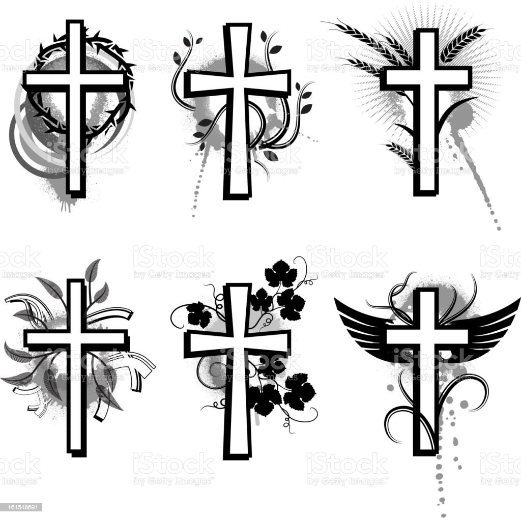 Grunge Cross Collection Black White Vector Icon Set Stock