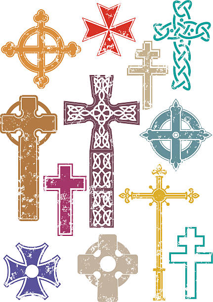 Grunge crosses A selection of crosses with grunge texture applied. maltese cross stock illustrations