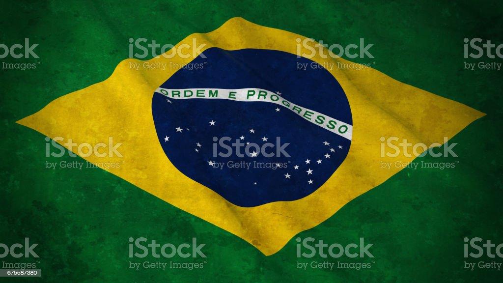 Grunge Flag of Brazil - Dirty Brazilian Flag 3D Illustration vector art illustration