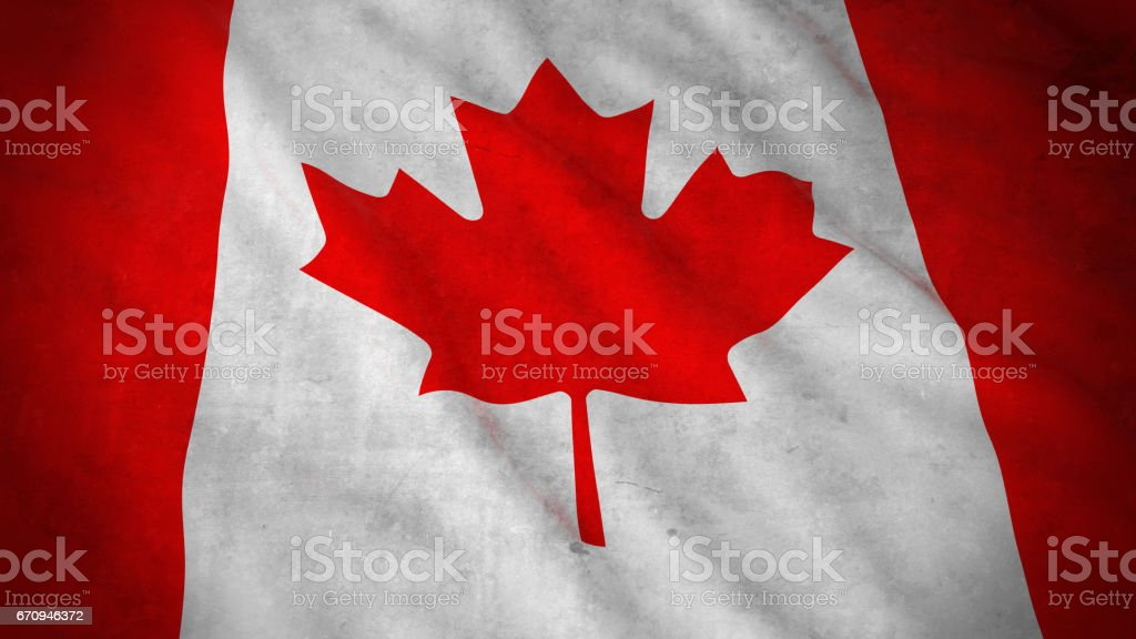 Grunge Flag of Canada - Dirty Canadian Flag 3D Illustration vector art illustration