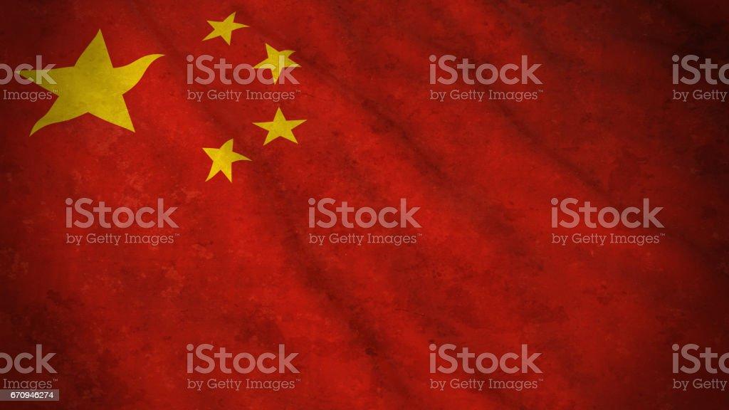 Grunge Flag of China - Dirty Chinese Flag 3D Illustration vector art illustration