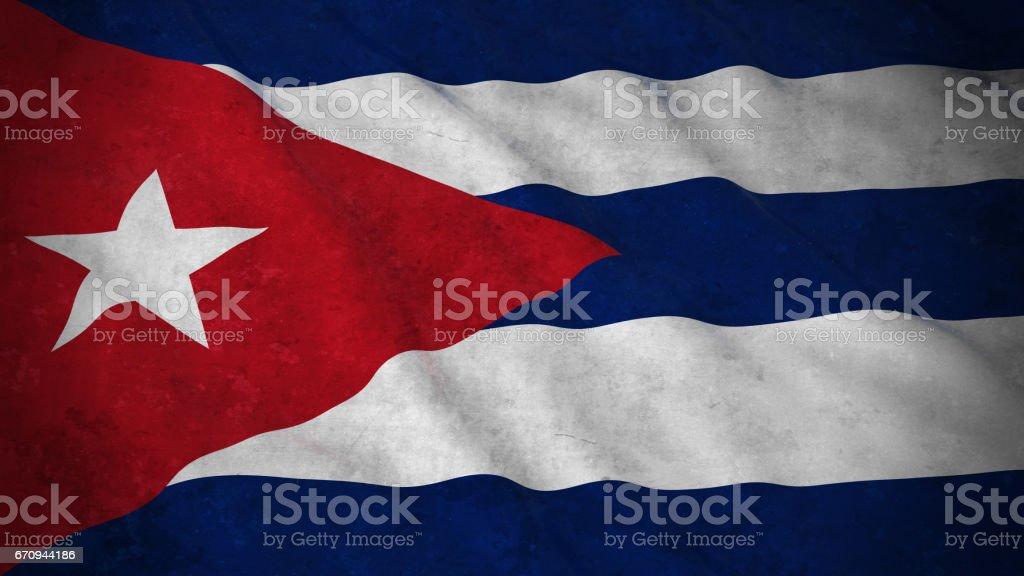 Grunge Flag of Cuba - Dirty Cuban Flag 3D Illustration vector art illustration
