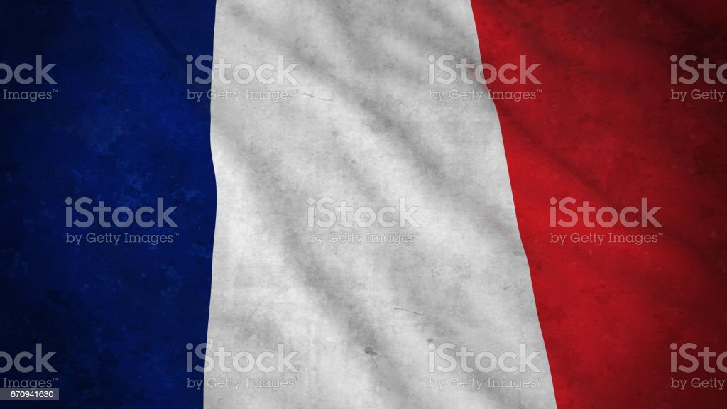 Grunge Flag of France - Dirty French Flag 3D Illustration vector art illustration