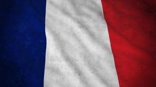 grunge flag of france - dirty french flag 3d illustration - french flag stock illustrations, clip art, cartoons, & icons