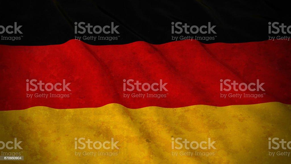 Grunge bandera de Alemania - bandera alemana sucia Ilustración 3D - ilustración de arte vectorial