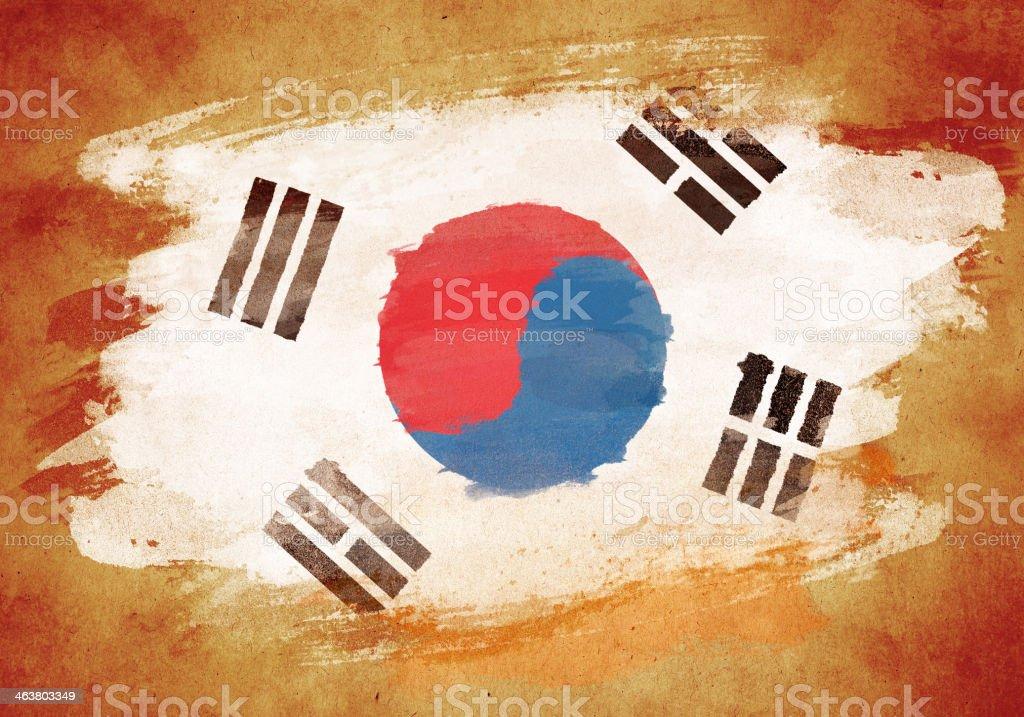 Bandeira de Grunge da Coreia - ilustração de arte em vetor