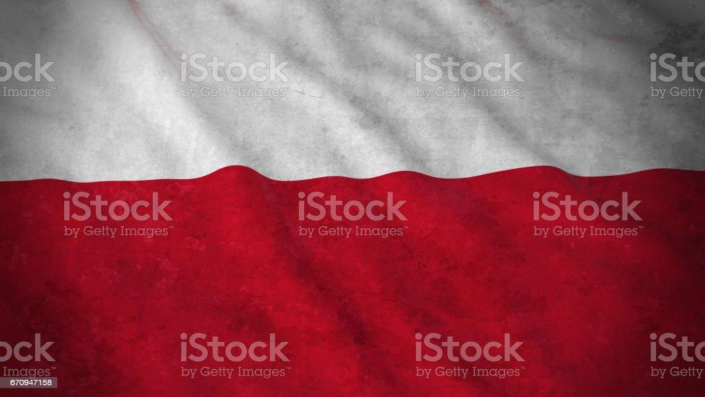 Grunge Flag of Poland - Dirty Polish Flag 3D Illustration vector art illustration