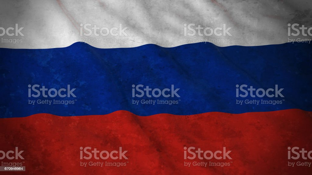 Grunge Flag of Russia - Dirty Russian Flag 3D Illustration vector art illustration
