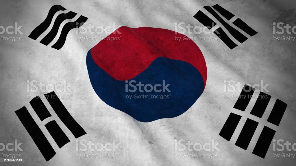 Grunge Flag of South Korea - Dirty South Korean Flag 3D Illustration - ilustração de arte em vetor