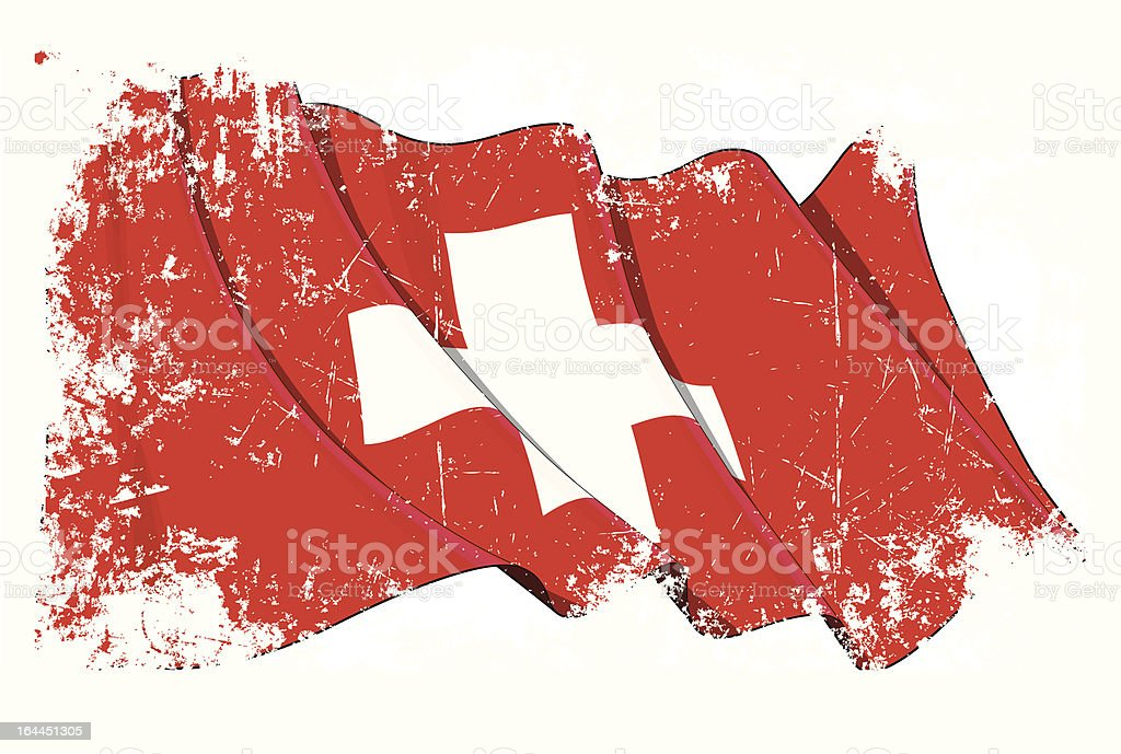 Grunge Flag of Switzerland vector art illustration