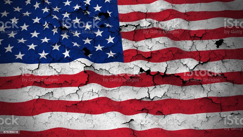 Grunge Flag of the United States - Cracked American Flag 3D Illustration vector art illustration