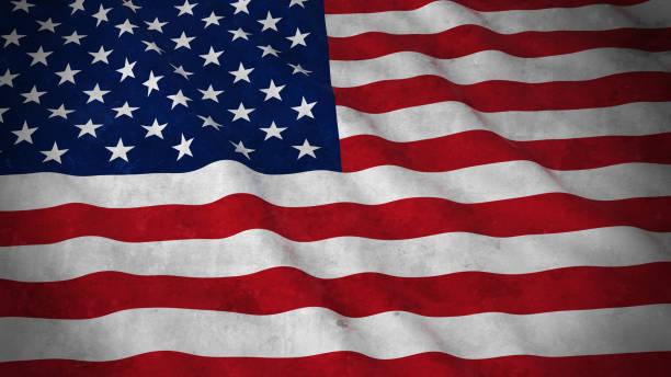 ilustraciones, imágenes clip art, dibujos animados e iconos de stock de bandera del grunge de estados unidos - ilustración 3d sucia bandera americana - bandera de estados unidos