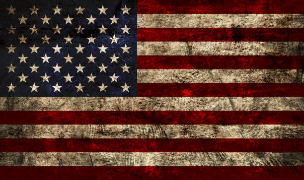 Grunge flag of United States of America USA background, with American Flag superimposed on dirty metal texture, grunge style. distressed american flag stock illustrations