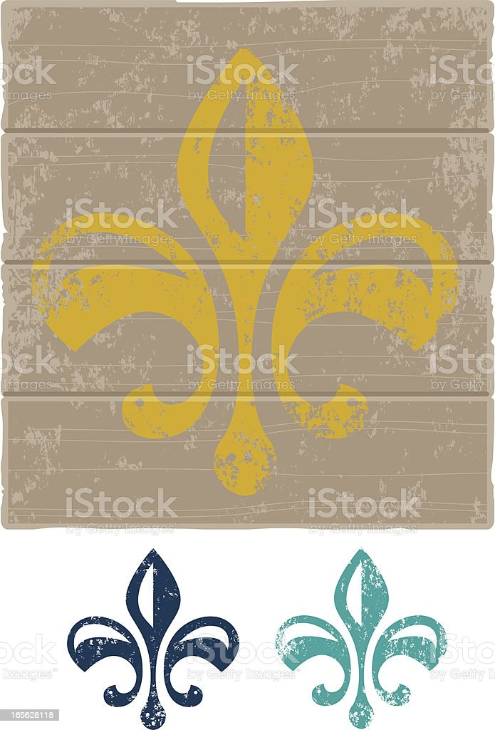Grunge Fleur de Lys vector art illustration