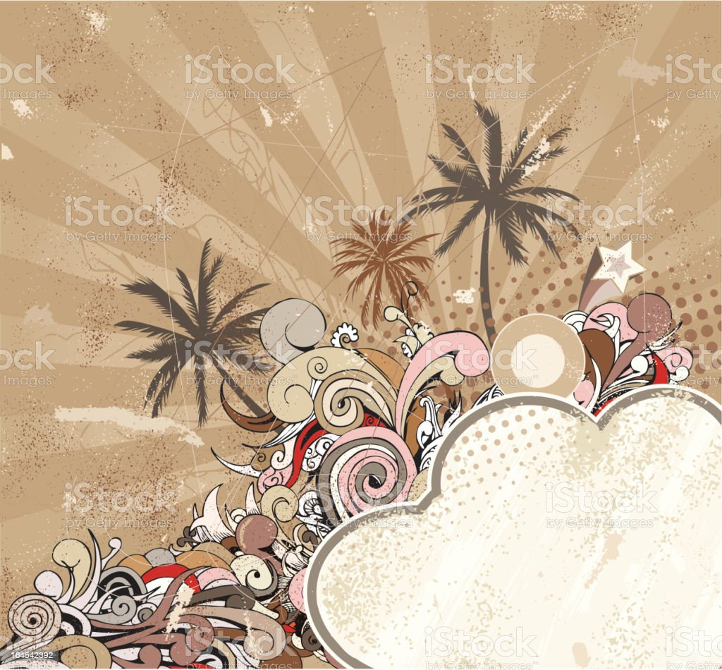 Grunge floral background with palm trees royalty-free grunge floral background with palm trees stock vector art & more images of abstract