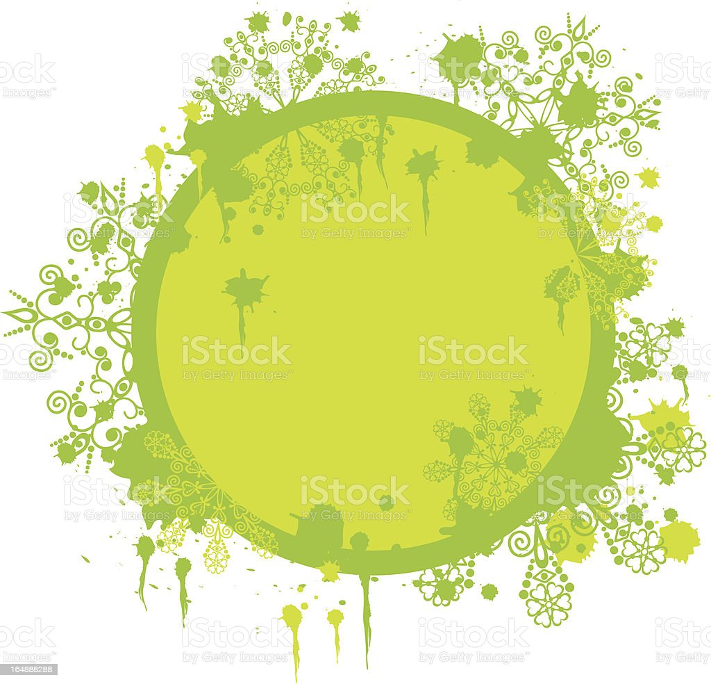 Grunge floral snowflakes frame, vector royalty-free stock vector art