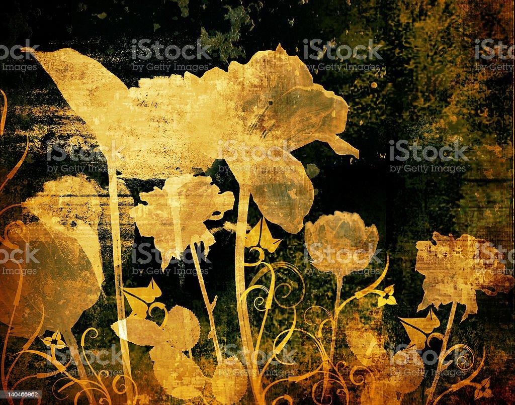 Grunge flowers royalty-free stock vector art