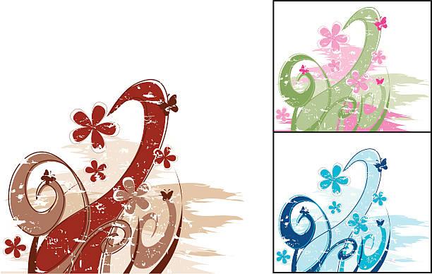Grunge Flowers vector art illustration