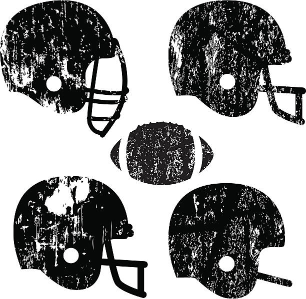 "Grunge Football Helmets ""Great for vintage-looking t-shirts. Grunge texture is cut out from shapes, so that background shows through. Solid, non-grunge versions included on separate layer."" football helmet stock illustrations"
