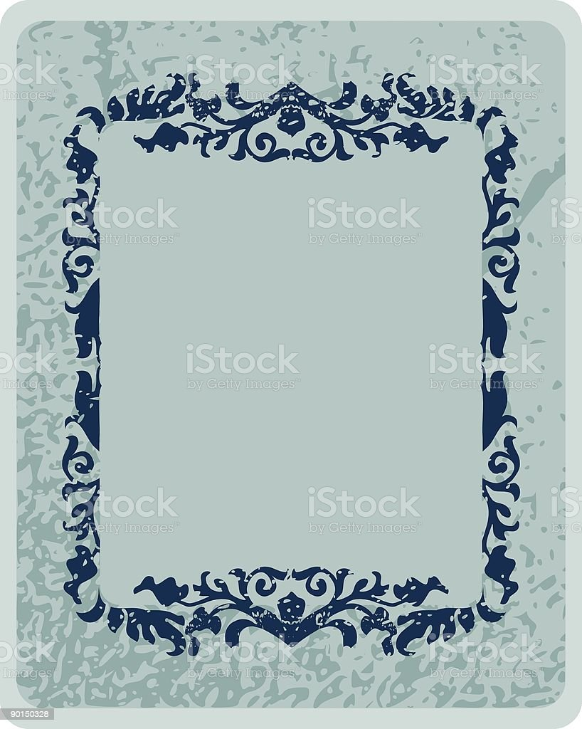 Grunge frame in blue marble texture royalty-free stock vector art
