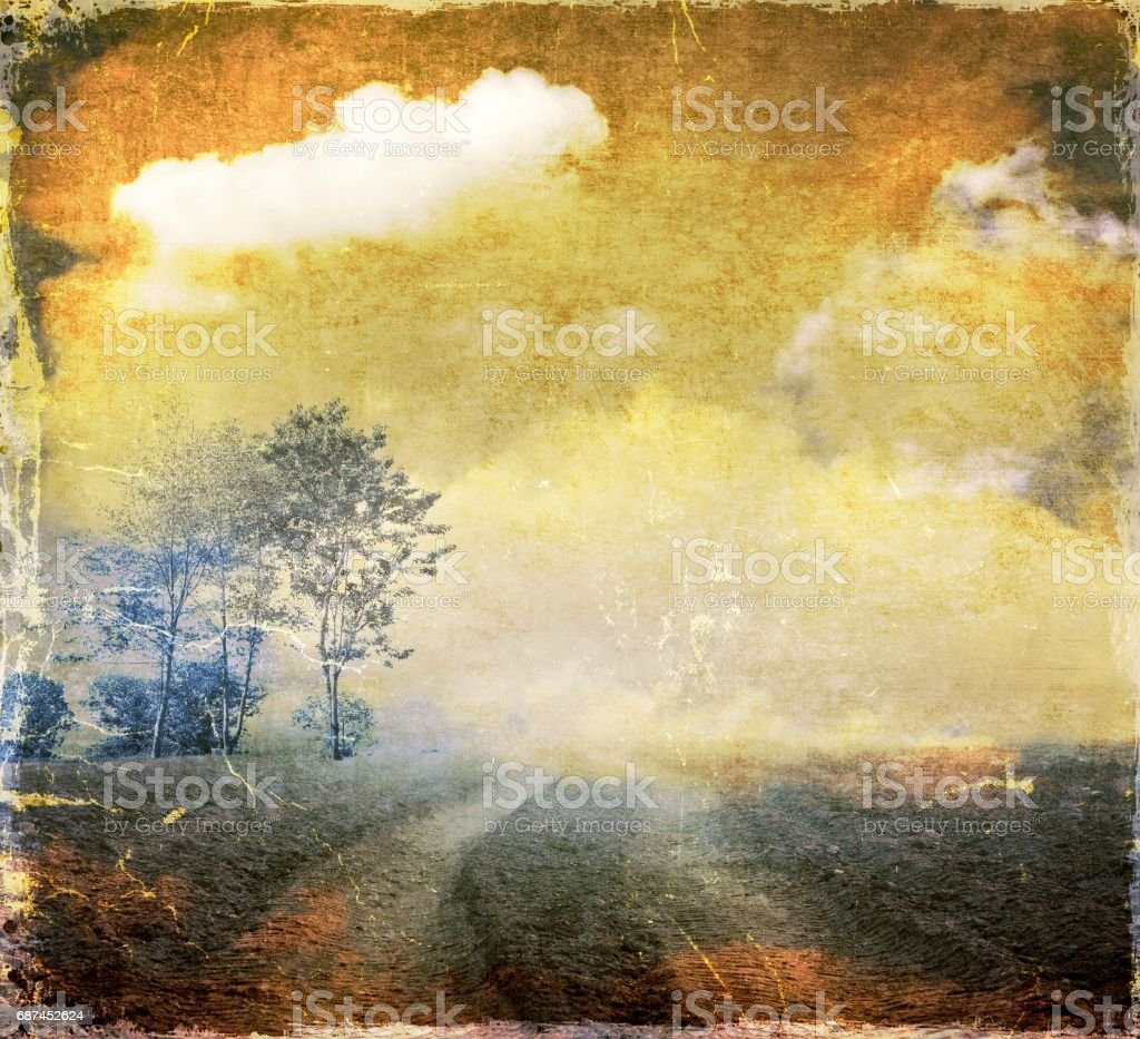 Grunge group of trees in colorful surreal landscape. vector art illustration
