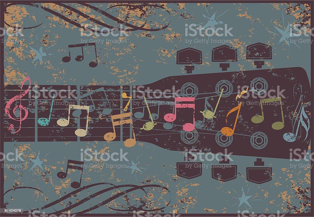 Grunge guitar head vector art illustration