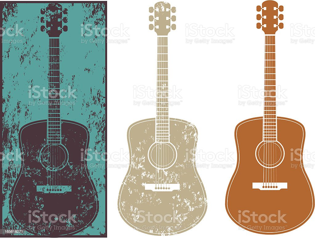 Grunge guitar three vector art illustration