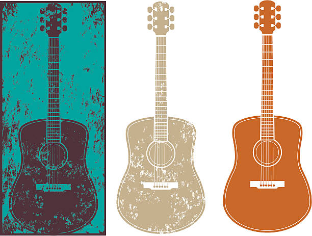 stockillustraties, clipart, cartoons en iconen met grunge guitar three - gitaar