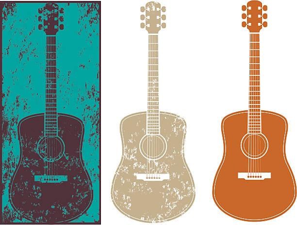 Grunge guitar three vector art illustration