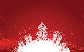 """Red background with Christmas tree, gifts, snowflakes and grunge elements for your design. All objects are grouped for easy editing. Large jpeg included."""
