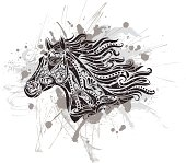 Pattern in a shape of a horse in the grunge background.