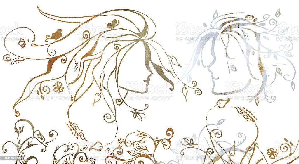 grunge illustration of a couple royalty-free stock vector art