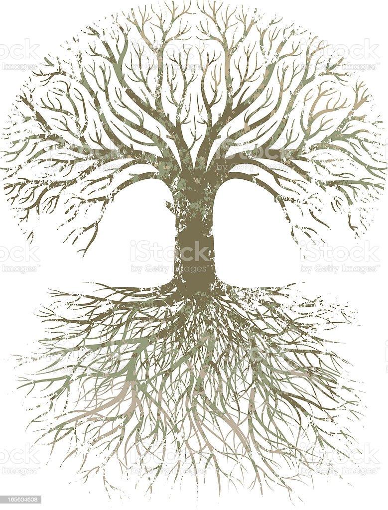 Grunge gran árbol raíces. - ilustración de arte vectorial