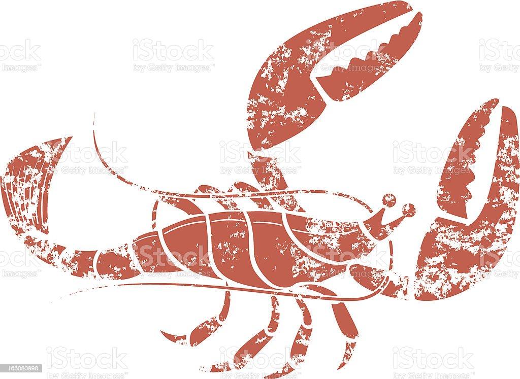 Grunge lobster vector art illustration