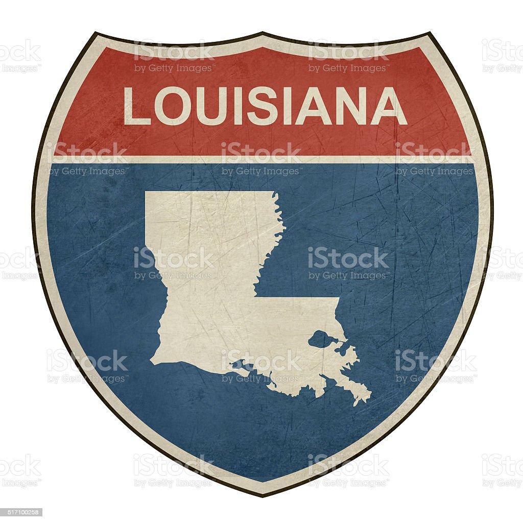 Grunge Louisiana interstate highway shield vector art illustration