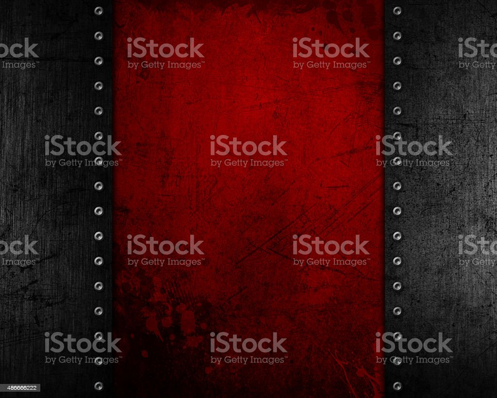 Grunge metal background with red distressed texture vector art illustration
