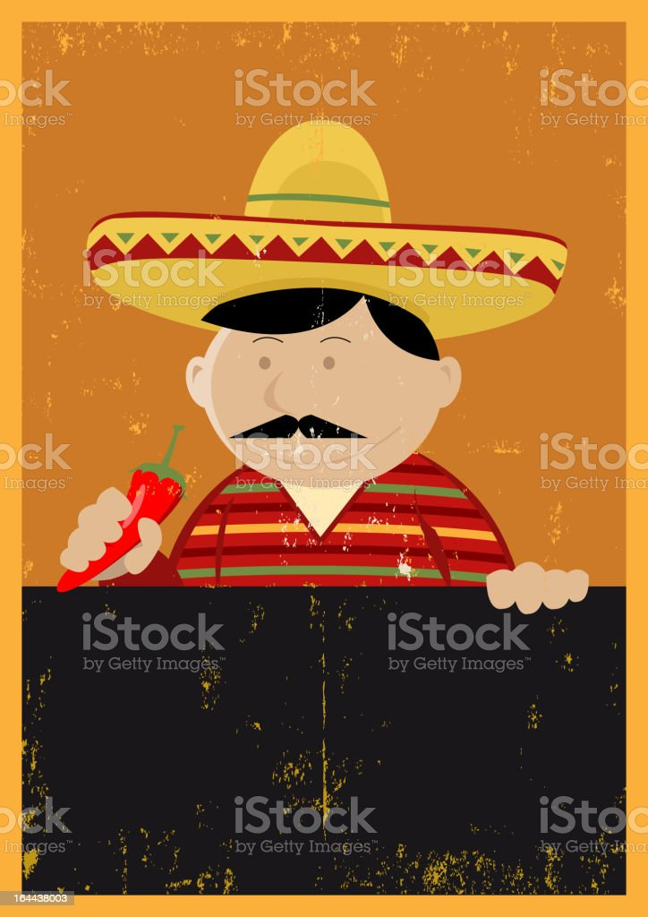 Grunge Mexican Chef Cook Menu royalty-free stock vector art