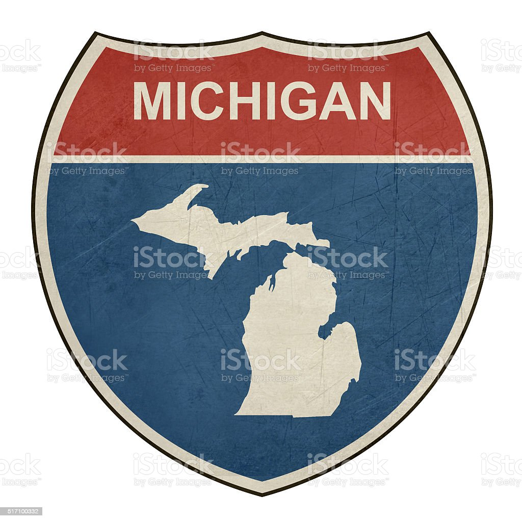 Grunge Michigan interstate highway shield vector art illustration