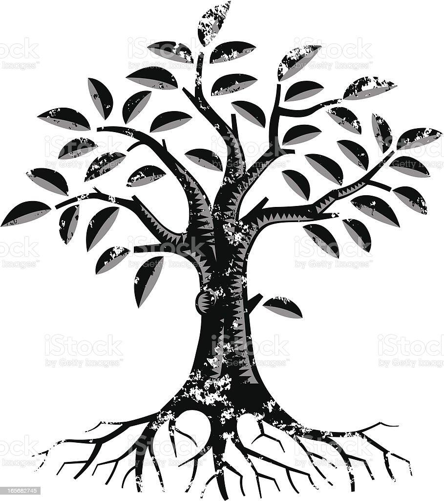 Grunge mono tree print royalty-free stock vector art