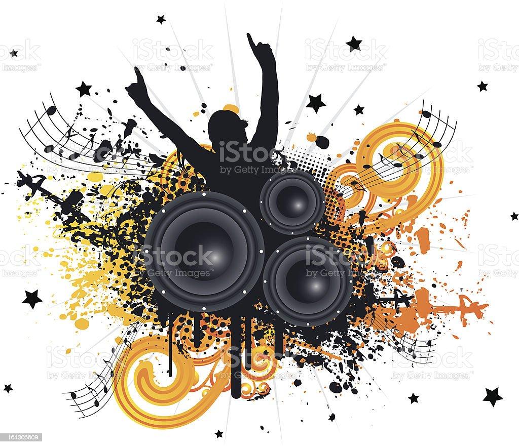 Grunge Music Fan royalty-free stock vector art
