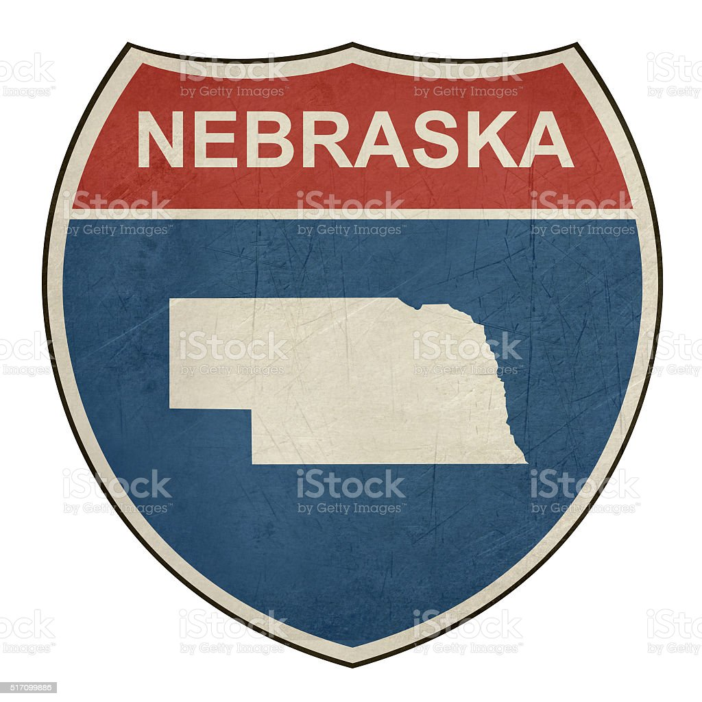 Grunge Nebraska interstate highway shield vector art illustration