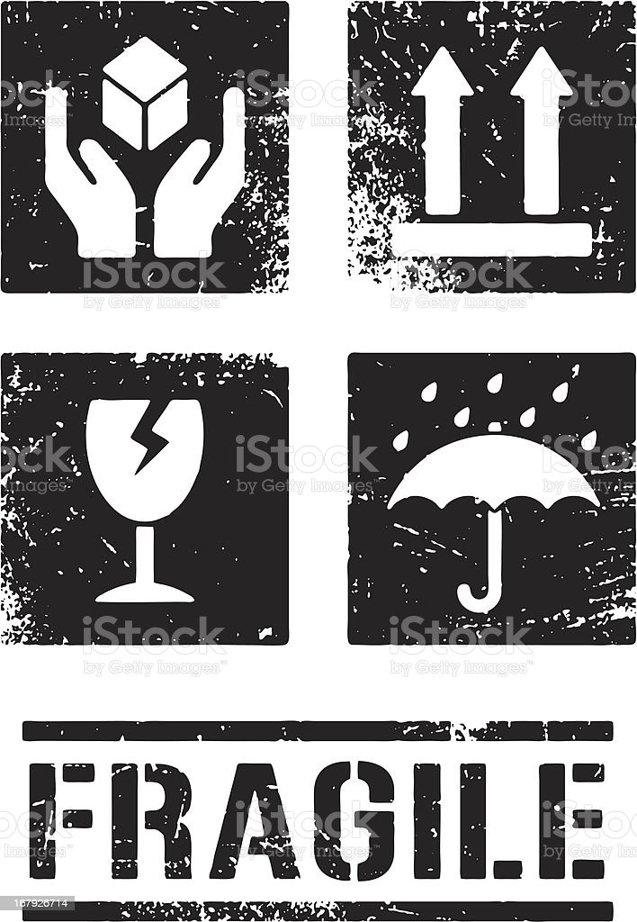 Grunge Packaging Symbols vector art illustration