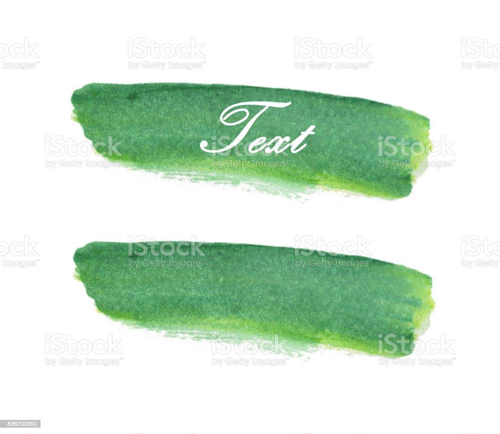 Grunge Paint stripe. Brush stroke. Green isolated paintbrush. Modern Textured shape. vector art illustration