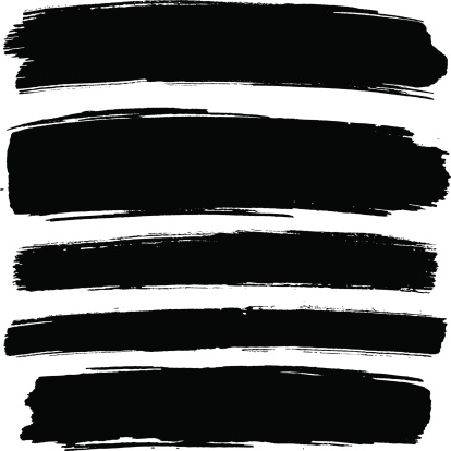 Black paint strokes on a white background.