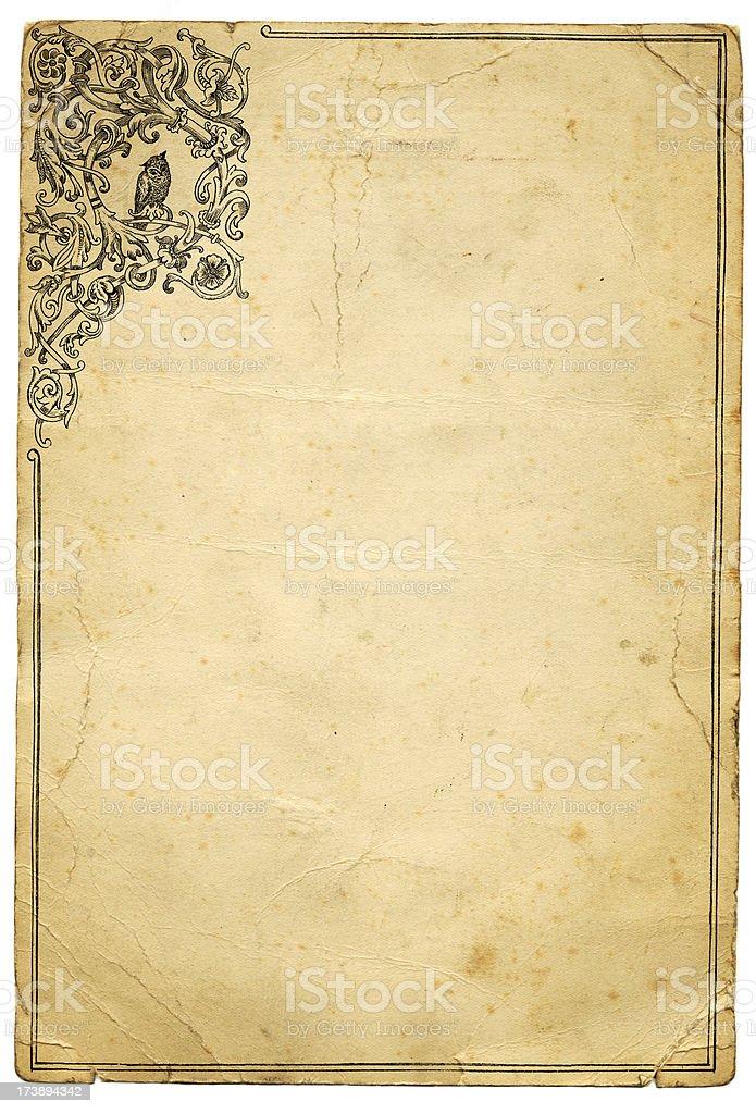 Grunge paper owl frame royalty-free stock vector art