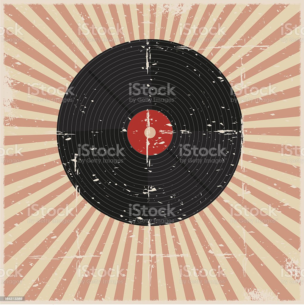 Grunge Record Poster vector art illustration