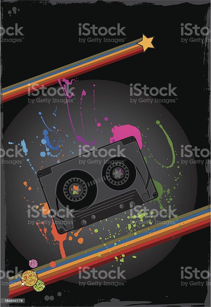 Grunge retro audio casette background vector art illustration