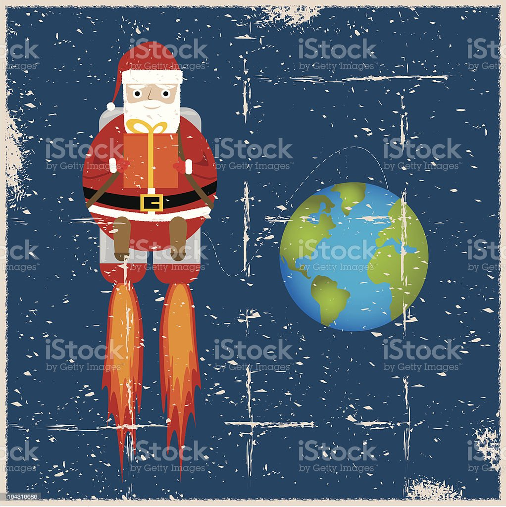 Grunge Santa Claus in Space royalty-free stock vector art