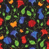 """""""Grunge textile or wallpaper pattern with bright red and blue flowers, yellow butterflies on black background. All objects are grouped for easy editing."""""""